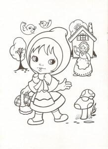 Dibujos para colorear de Caperucita Roja y abuelita